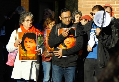 Silvio Carrillo, Berta Cáceres' nephew, speaks outside of the IACHR hearings in the OAS alongside his mother, Berta's eldest sister, and Walker Grooms of Witness for Peace (WFP) who mc'ed the vigil.