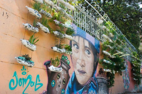 A plant installation and graffiti art in Comuna 13 honor loved ones disappeared during the country's 50-year-long war.